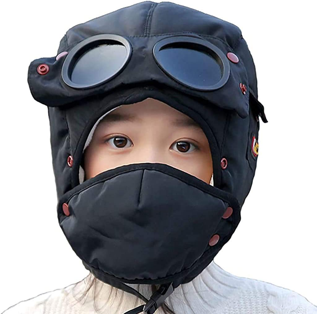 Kacota Winter Trapper Trooper Hats for Kids Bomber Hat Ushanka Hats for Boys Girls 4-8Y