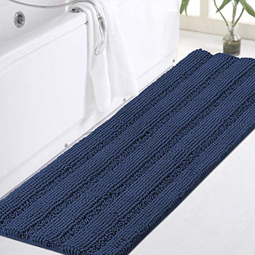 Non-Slip Bath Rug Runner Extra Long Bathroom Rug 47'x 17' Blue Bathroom Rugs Runner Non Slip Shaggy Bath Mat Runner Extra Soft and Absorbent Thick Shaggy Shower Mats, Plush Shaggy Rug for Tub, Navy