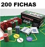TEXAS HOLD*EM Juego de Poker 200 fichas con Caja + 2 Juego de Barajas...