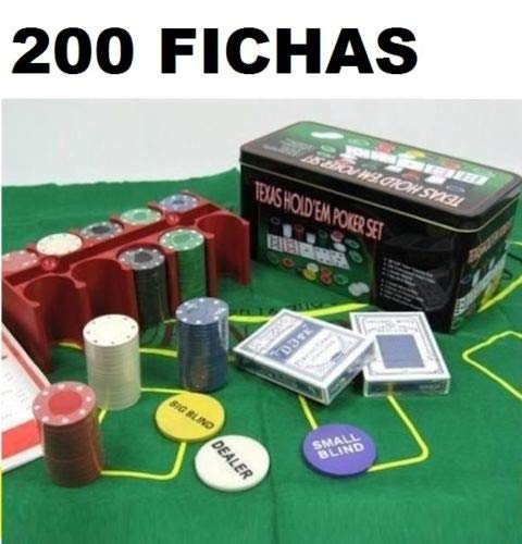 TEXAS HOLD*EM Juego de Poker 200 fichas con Caja + 2 Juego de Barajas + Ficha Dealer + Tapete