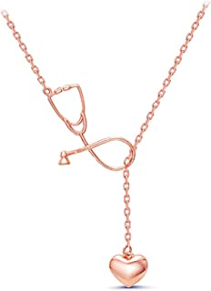 Heart Stethoscope Necklace,Doctor Nurse Necklace,Stethoscope Bracelet for Women Girls Students Gifts