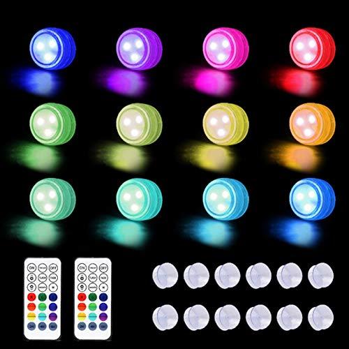 GYW Mini Luces LED Sumergibles Luz Subacuática Luces De Estanque Impermeables con Ventosas Lámpara De Piscina De Control Remoto Luces De Estanque Impermeables para Florero Decoración (Color : 12PCS)