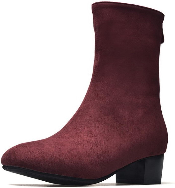 BalaMasa Womens Solid Mid-Calf Zipper Urethane Boots ABL10554