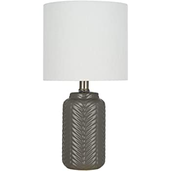 "Amazon Brand – Ravenna Home Chevron-Patterned Table Lamp, Bulb Included, 15""H, Charcoal Gray"