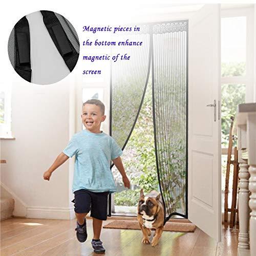 Lockwish Sliding Screen Door Mesh Curtain, Mesh Magnetic Screen Door, Fits Doors Up Door Pet (White,100x220cm)