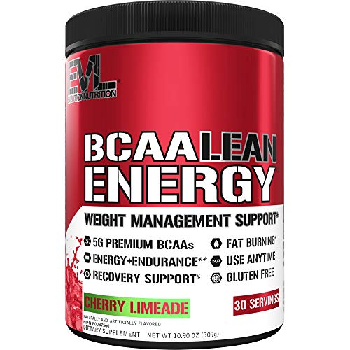 Evlution Nutrition BCAA Lean Energy - Energizing Amino Acid for Muscle Building Recovery and Endurance, with a Fat Burning Formula, 30 Servings (Cherry Limeade)