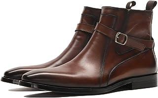 bfbea901b72af2 RSHENG Bottes Martin pour hommes Bottes Chelsea à boucle à la cheville Chaussures  montantes Angleterre