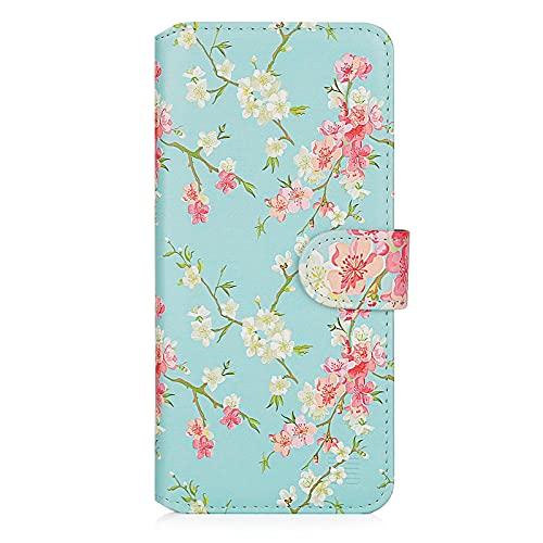 32nd Floral Series 2.0 - Funda Tipo Libro de Piel Sintetica con diseño Floral para Samsung Galaxy A22 5G (2021), Carcasa de Cuero diseñada con Cartera y Cierre Magnetico - Primavera Azul