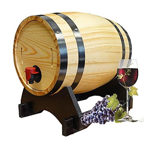 HOGAR Y MAS Cuba de Madera 5L con Soporte, Dispensador de Bebidas. Barril Vino ø 18x27 cm