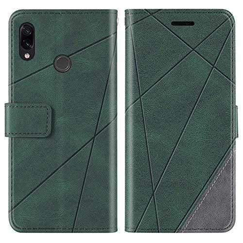 KKEIKO Hülle für Xiaomi Redmi Note 7 / Redmi Note 7 Pro, Brieftasche PU Leder Schutzhülle Klapphülle Tasche mit Kartensteckplatz, Stoßfest TPU Hülle für Xiaomi Redmi Note 7 / Note 7 Pro - Grün