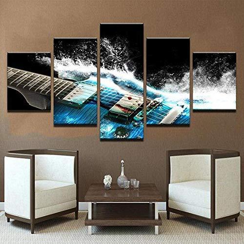 yuanjun Wanddekoration Design Wandbild 5 Teilig Premium Poster Stilvolles Set Mit Passenden Bilder Als Wohnzimmer Deko Bilderrahmen Leinwandbild Blaue E-Gitarre - Musik