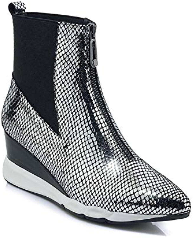MENGLTX High Heels Sandalen Mode Frauen Hochzeit Prom Stiefeletten Echtes Leder Herbst Winter Keile High Heels Schuhe Vintage Reiverschluss Schuhe Frau