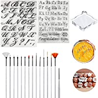 Alphabet Cake Stamp Biscuit Moulds,15 Pcs Carving Pen Brush for Cake Home Party Decor Supplies