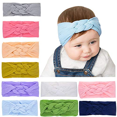 10PCS Baby Knot Headband, Twist Cross Hair Bands, Soft Silk Stretchy Nylon Head Wrap for Newborn Infant Toddlers Girls by JIAHANG (19KF)