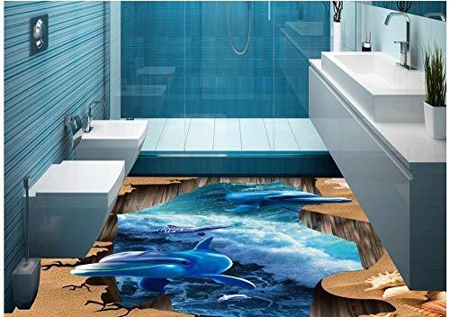 Suelo del océano 3D delfines suelo impermeable de PVC foto personalizada suelo 3D autoadhesivo decoración del hogar-150x105cm