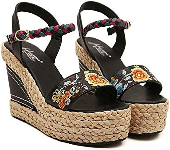 Femmes Wedge Sandales Brodées New Summer à Talons Hauts Sandales National Sandales Open Toe En Cuir Dames Filles Tongs,noir,35