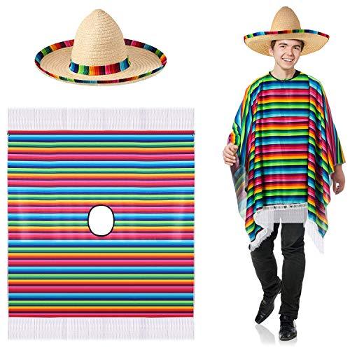 SATINIOR Mexikanisches Serape Poncho Kostüm Mexikanischer Sombrero mit Rainbow Serape Edge und Band(Erwachsener)