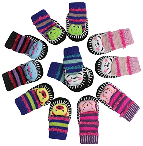ToBeInStyle Baby Girls' Pack of 6 Animal Head Sock Shoes - Smiles - Large