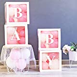 21 PCS Baby Shower Boxes,4 Clear & Transparent Blocks 8 balloons 4 letters 4 String Lights,Baby Blocks Decorations for Baby Shower Boy Girl 1st Birthday Party Decorations