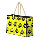 Lindo fondo amarillo de gato, resistente al agua, bolsa de playa grande de paja, bolso de playa, bolso de hombro, para...