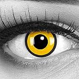 Funnylens 1 Paar farbige Crazy Fun black yellow Jahres Kontaktlinsen. perfekt zu Halloween, Karneval, Fasching oder Fasnacht mit gratis Kontaktlinsenbehälter ohne Stärke!