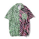Camisa de Flores Hawaianas para Hombres, Camisa de Playa Holgada con Estampado de Animales de Manga Corta, Chaqueta Hermosa de Tendencia Retro de Hong Kong L