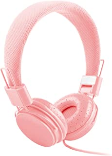 shiYsRL Wired Headphones Over Ear Candy Color Foldable Hifi Stereo Wired Control Headphone Music Headset With Mic One Size Pink