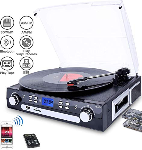 #01 MIGLIOR QUALITA'/PREZZO - DIGITNOW! Giradischi con Altoparlanti Stereo a Tre Velocità Bluetooth Vinile Giradischi con USB/SD/MMC per codifica/AM/FM stereo radio/cassette tape/Aux in