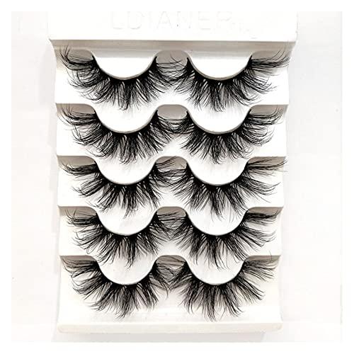 HUBAN Pestañas Falsas, 5 Pares de Mujeres Natural Japonés Maquillaje Serio Pestañas Falsas Pestañas Largo Thick Peach Extension Cosplay Falso Pestañas (Color : JKX70)