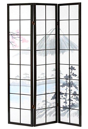 PEGANE Paravent Bois Noir Fuji 3 pans, 132 x 176 x 2cm
