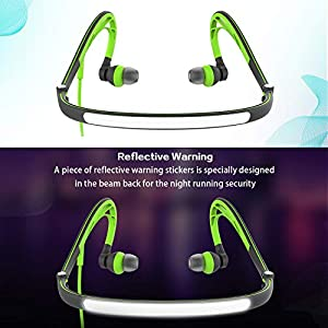 Foldable Wired Running Sports Headphones, Night Neckband in-Ear Stereo Workout Earphones Designed for Jogging Gym Headsets,Green