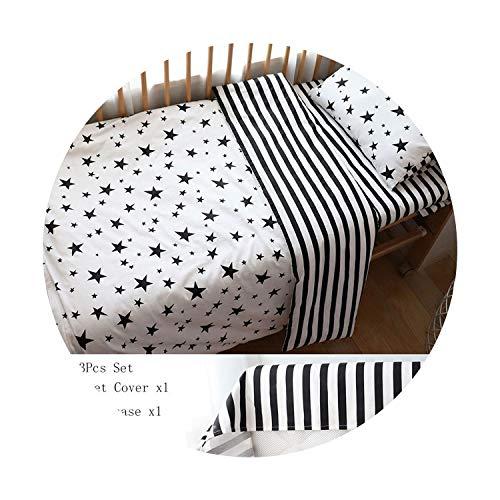 Suzanne Betty Parure de lit pour bébé nordique en coton avec tour de lit, motif étoile noire, 3 pièces plates