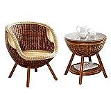 SCDXJ Conjunto de jardín Muebles Ratán Juego,Muebles de ratán, para Terraza o Balcón,Brown-Tableandchair