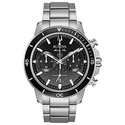 Bulova Relógio Masculino, 96B272, Tom de prata/preto