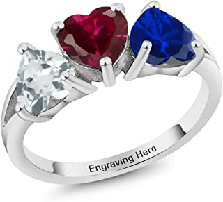 925 Sterling Silver Engagement Ring Promise Ring Customized & Personalized 3 Birthstone Build Your Own Forever United For Her Heart Ring (Available in size 5,6,7,8,9)
