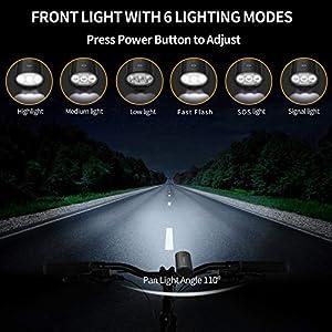 Luz Bicicleta,Luzde Bicicleta LED Recargable USB con 1200 Lúmenes 6 Modos,Luces Bici Delantera IPX5 Impermeable y LED Luz Trasera,3 LED 4000 mAh Luz Bicicleta para Ciclismo de Montaña y Carretera