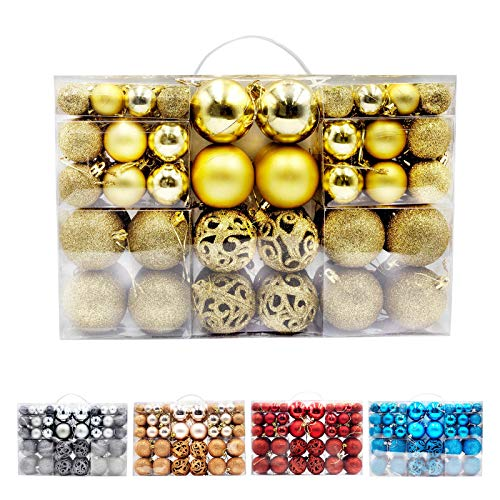 Christmas Ball Ornaments Kits for Tree, Garland, Yard and Party Decorations, Shatterproof and Large Sets, Best Gift Ideas, 100 pcs in 4 Types (Gold)