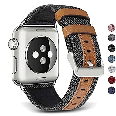 SKYLET Compatible with Apple Watch Band 42mm 38mm Series 5 Series 4 44mm 40mm Leather Band, Canvas Fabric Leather Wristbands Compatible with Apple Watch Series 3 2 1 Men Women Black