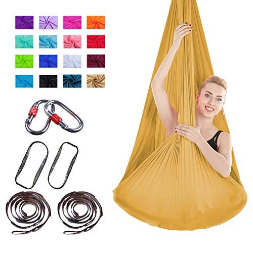 LASERIPLF Aerial Silks Yoga Swing Kit,Yoga Hammock Flying Dance Aerial Yoga Fabric Acrobatic Silks Antigravity With Carabiner & Daisy Chain for Yoga Anti-gravity Pilates 3