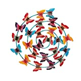 Pylemon Spiral Butterfly Wall Decor, Decorative Metal Butterfly Wall Art Outdoor, Hanging Home & Garden Spring Decorations for Patio, Porch and Backyard 22' L