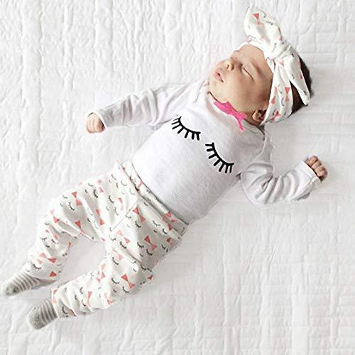 Yilaku Toddlers Girls Clothes Set Baby Girls Outfits Set Little Sister Eyelash Top + Pants + Headband 3pcs Pajaams Set Gifts Idea for Girls (Pink Eyelash, 18-24 Months)