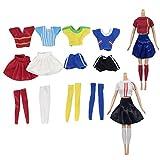 beetest 6 set moda casual girl doll vestiti calcio sport tute abiti accessori per barbie bambole bambini compleanno natale regalo