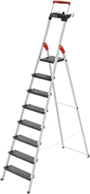 Hailo 0850-827 L100 Pro, 8-Ft Folding Lightweight Aluminum Step Platform Ladder, Black