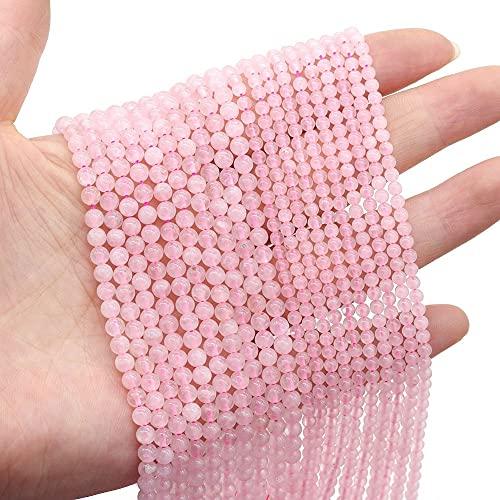 XIAOMAI Cuentas de Piedra Natural Cuarzo Rosa Cuentas Sueltas para Hacer Joyas DIY Collar Pulsera Pendientes Accesorios Tamaño 2Mm 3Mm 4Mm