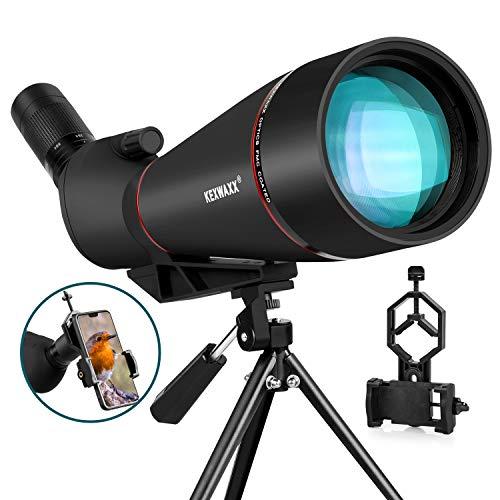 KEXWAXX Longue Vue Tir Sportif Puissante Terrestre 25-75X 100mm Étanche Bak4 FMC Film Longue Vue Trepied & Adaptateur Smartphone Monoculaire Telescope Noir