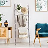 RHF 48' Blanket Ladder ,Decorative Ladder,Ladder Shelf,Leaning Shelf,Decorative Ladder for Bathroom, Ladder Shelf Stand, Rustic Chic Farmhouse Wood Ladder,Quilt Rack,No Assembly Required,White