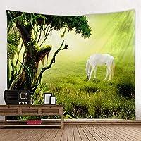 ftmxy 3D緑の森の馬の風景タペストリー壁掛け寝室のリビングルームの家の装飾-150X130CM