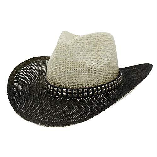 ZHU-ZHI-B-MZ, Cappello da Cowboy da Donna in Paglia con Vernice Spray, Cappello da Spiaggia per Esterni, Rivetti Quadrati Decorativi, Cintura Panama Chapeu Feminino, Cannuccia, 4, 56-58 cm