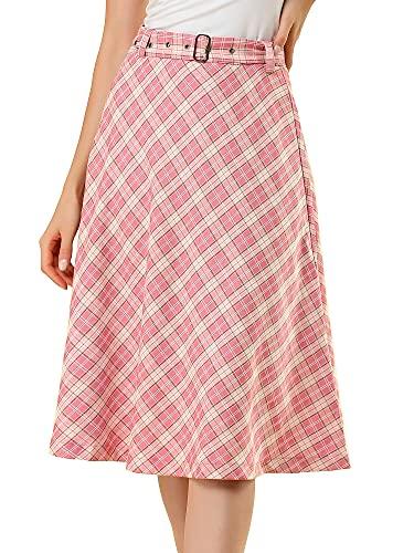 Allegra K Falda Midi Vintage A-Línea Cinturón A Cuadros Cintura Alta para Mujeres Rosa S