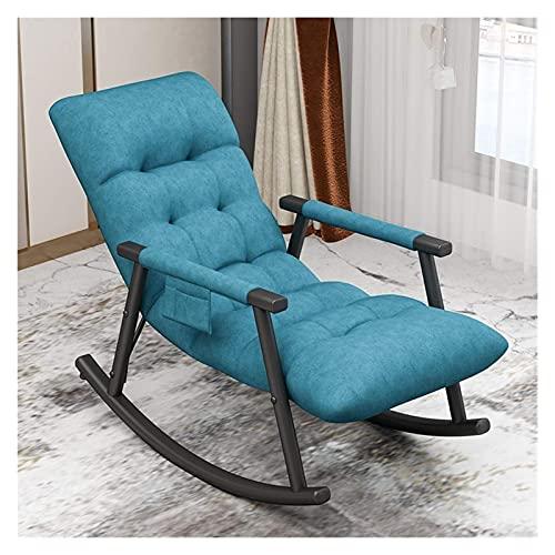 KUYH Silla mecedora para sala de estar, silla mecedora de tela, cómoda y duradera, silla de dormir para balcón (color: azul lago)